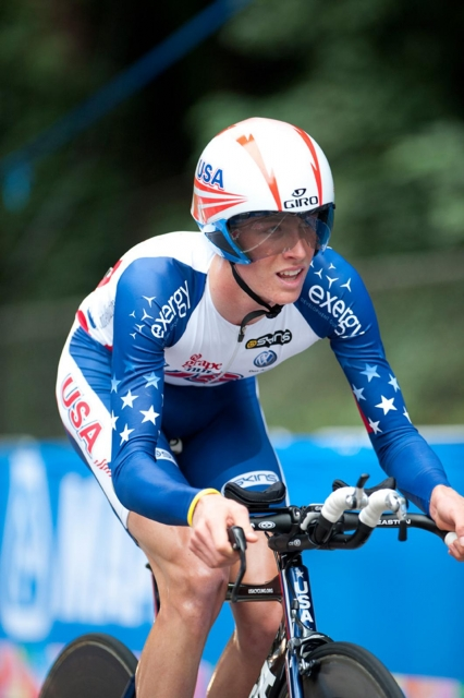 T.J. Eisenhart was 10th in the junior men's time trial on Monday.